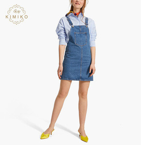 OEM Service Low Price Casual Denim Pinafore Dress For Women