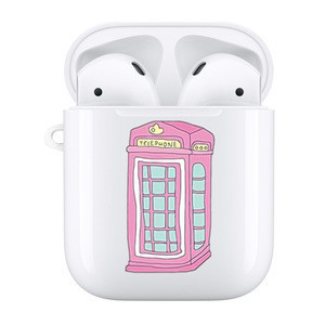 Pink Telephone Booth White Hard Shell Accessories Compatible with Apple AirPods 1&2 Oem Custom Logo