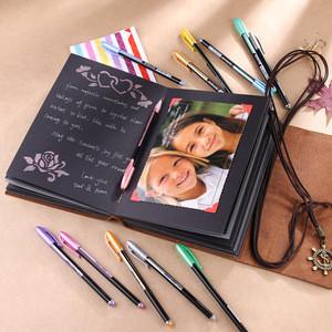 "Rustic Leather Scrapbook Photo Album, 6"" x 8"" Handmade Leather Bound Memory Scrapbook Album for Custom Logo"