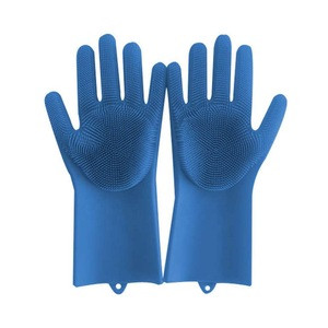 Slip-resistant design kitchen cleaning brush heat resistant silicone sponge scrubber gloves