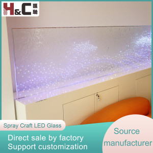 Waterproof LED laminated glass 12V DC safety luminous clear floating glass with blue lights LED for office decoration