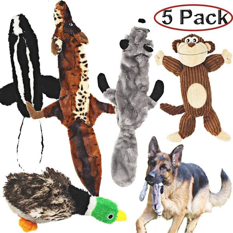 Pack of 5 dog squeaking toys, three unstuffed toys and two plush stuffing, suitable for small, medium and large dog pets