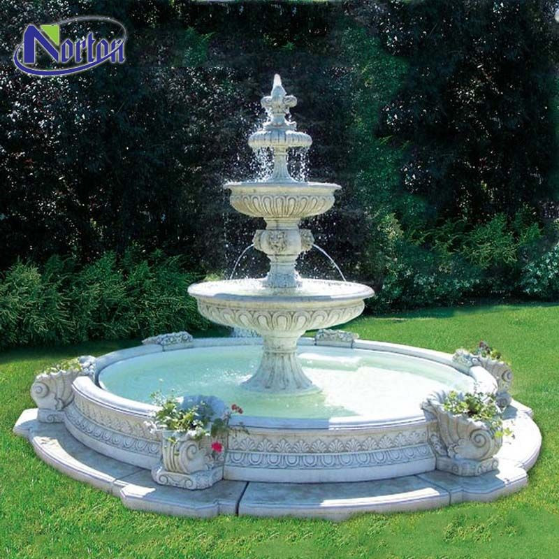 Modern natural stone garden use three-tier white marble outdoor water fountains for sale