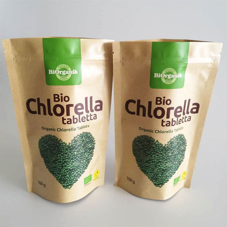 Wholesale price resealable biodegradable stand up pouch plastic zip lock mylar bags for chlorella tabletta