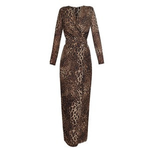 2020 V Neck Long Sleeved Leopard Print Long Slim Pencil Sexy Party Package Hip Split Dress