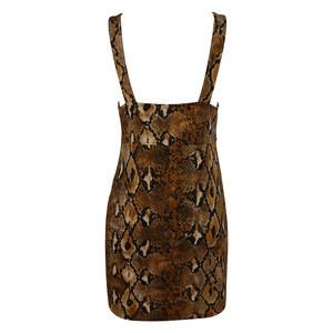 2020 Wholesale Women Snake Print Knitted Club Dress Vest V Neck Bodycon Party Dress