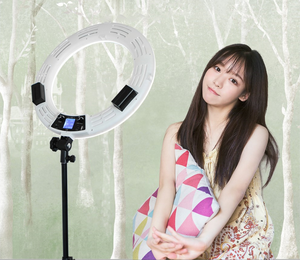 90W Fill Light Photographic Ringlight 18 Inches Selfie Led Ring Light with LCD Screen Battery Light Stand