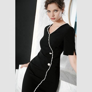 Beaded fashion career summer dresses women clothingfor elegant lady T2611