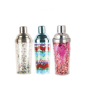 Double wall hard plastic 500ml bar wine shaker bottle