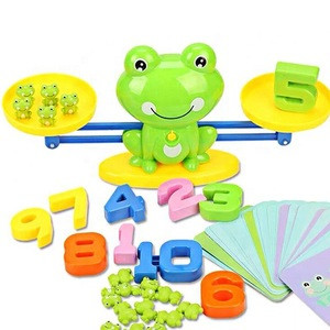 Early Education Cartoon Animal Frog Plastic Math Balance Blocks Game Mathematics Calculation Weighing Scale Toy For kids gift