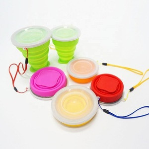 Factory direct supply FDA & LFGB portable foldable silicon cup with cover