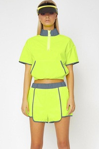 Fitness Ladies Fluorescent Green Reflective 2 Pieces Set Women Casual Tennis Sport Wear Tracksuit Set Sweatsuit