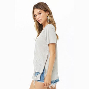 Grey color no logo vintage 100% cotton custom fashion women blank distressed t shirts