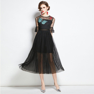 HJW9798068# Mesh stitching new slim fashion butterfly embroidery trumpet sleeve pleated skirt