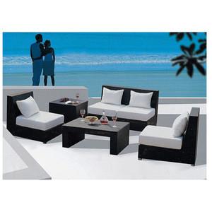 L shape rattan balcony sofa set with coffee table