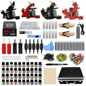 New Professional Complete Tattoo Kit for Beginner 4 Pro Machine Needles Power Supply Grip Carry Case