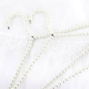 Pearl beads premium metal elegant white color clothes hanger rack pants bar hanger wedding dress