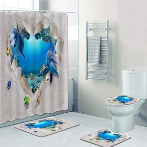 Skin-friendly flannel anti-slip mat floor washable Heart Shaped Dolphin  shower curtain carpet Four-piece bathroom set