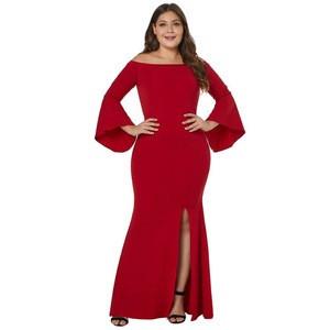 Wholesale Temperament Adult Dress Dew Shoulder One Word Led Horn Sleeve Dresses Women Plus Size Dress