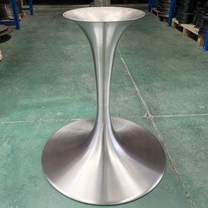 Wholesale trumpet brushed table leg stainless steel base dining table tulip table base