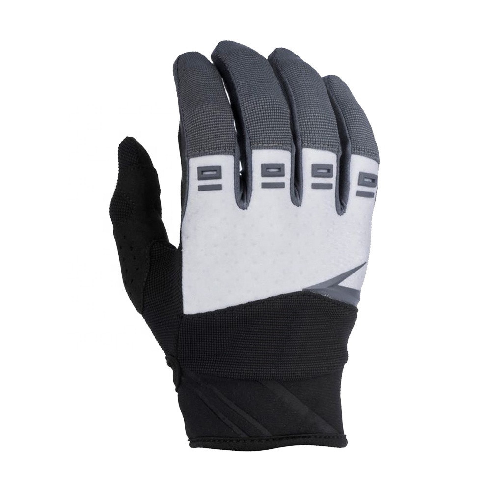 Wholesale Unisex Black White Synthetic Leather Soft Comfortable Full Finger Riding Motocross Racing Gloves