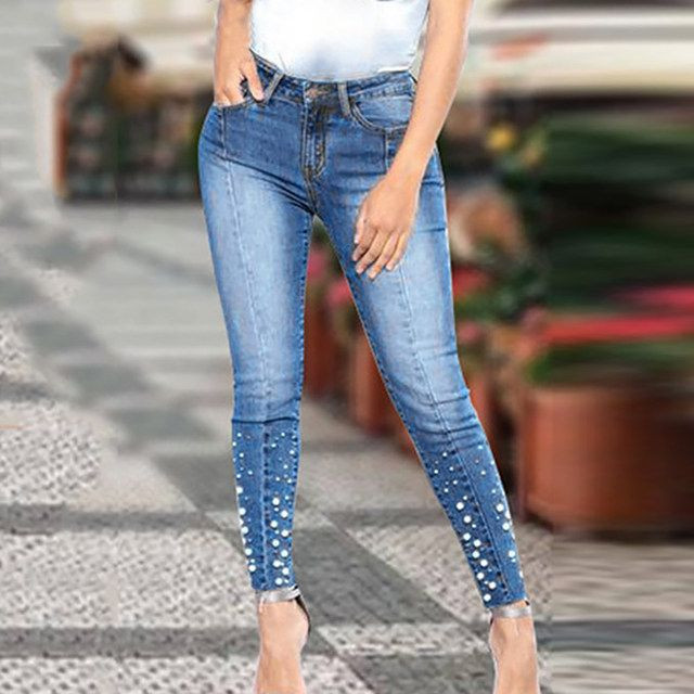 Ladies Pearls Denim Pant
