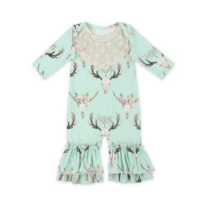2018 Baby Rompers Wholesale Baby Clothes Print Ruffle Baby Long Sleeve Newborn Romper