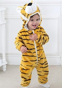 2018 popular cute tiger animal Cosplay Clothes, Soft baby Flannel Romper Animal kigurumi Pajamas