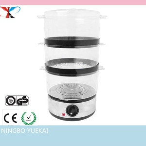 3 Layer Stainless Steel Compact Food Steamer with Rice Bowl, 6 Litre, 400 W
