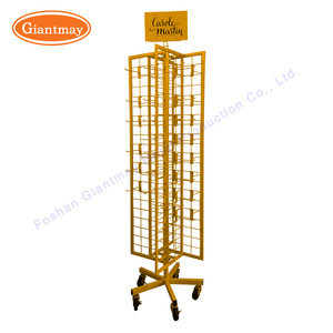 4 sided metal floor spinner wire grid panel with wire hanging
