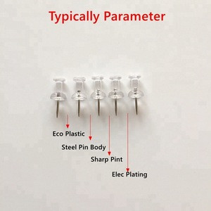 Attractive Stainless Steel 23mm Office Clear Drawing Pin For Art Supplies