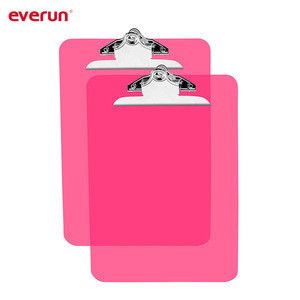 Colorful A4 size PS material clear plastic clipboard