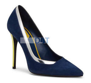 Fashion high heel dress shoe for women elegant navy blue leather pumps shoes
