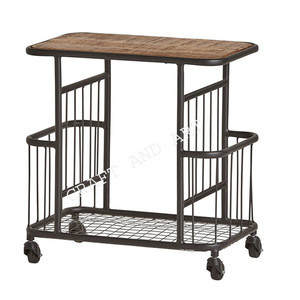 INDIAN WOODEN AND IRON WIRE OPEN BAR TROLLEY / SERVICE TROLLEY