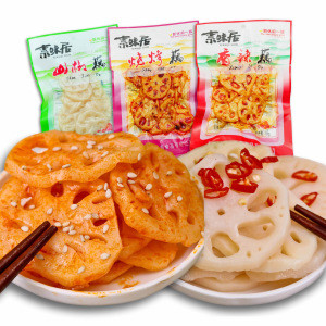 Instant   spicy mountain pepper  lotus root 80g slices Arrowroot  preserved vegetables