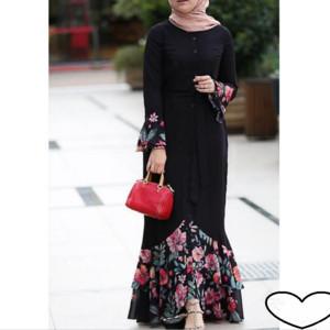 Muslim Dress Embroidery Dubai Kaftan Flowers Lace Cardigan Long Robe Kimono Ramadan Arabic Islamic Prayer Clothing