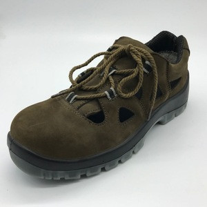 Nubuck leather ,safety shoes with steel toe cap ,pu outsole SM119 sandal uppers