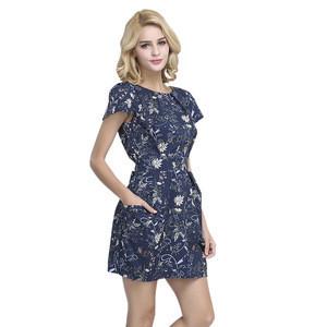 printed homecoming women evening dress with belt waist