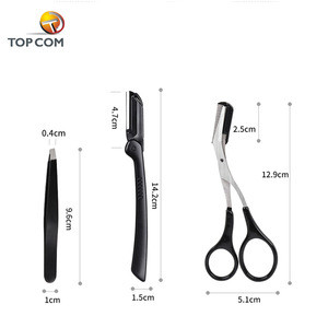 Private label eyebrow razor scissors with comb tweezers set