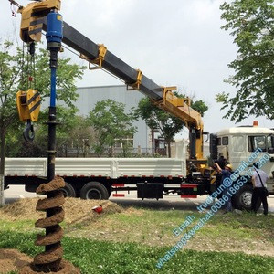 SINOTRUK HOWO 8x4 12 wheeler MOUNTED CRANE TRUCK with Auger Torque Earth drill for drilling telegraph poles