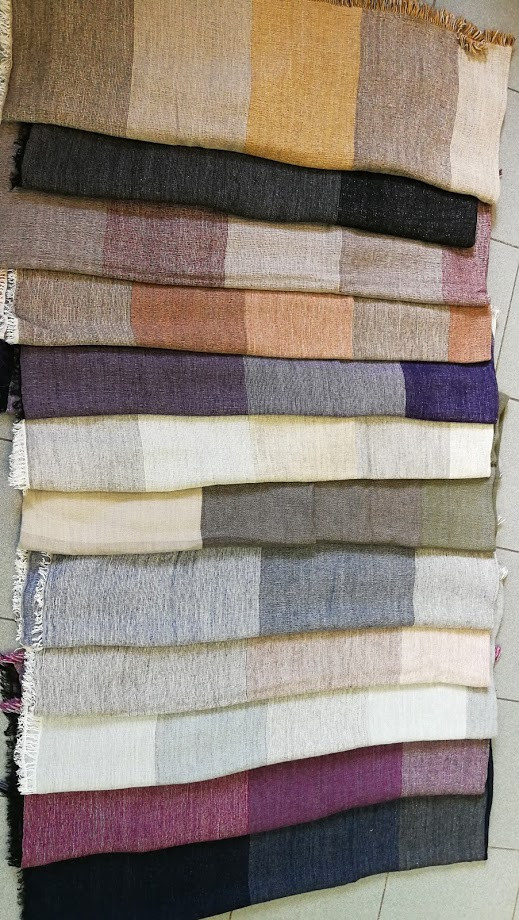 Two tone knitted scarves wholesale seamless  scarf with plaid printing