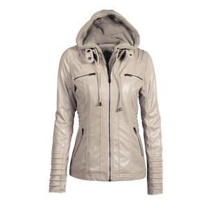 Wholesale Amazon Winter Long Sleeve Solid Color Zipper PU Leather Coat 7XL Women Girls Biker Windproof Jacket