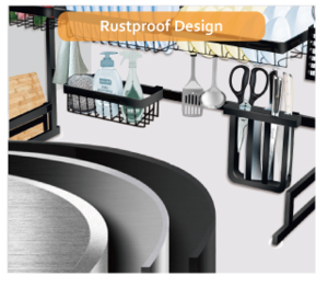 Wholesale kitchen multi-function over the sink Removable black metal stainless steel dish rack