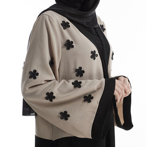 Wholesale Modern Arabia Modest Floral Open Abaya Women Islamic Clothing