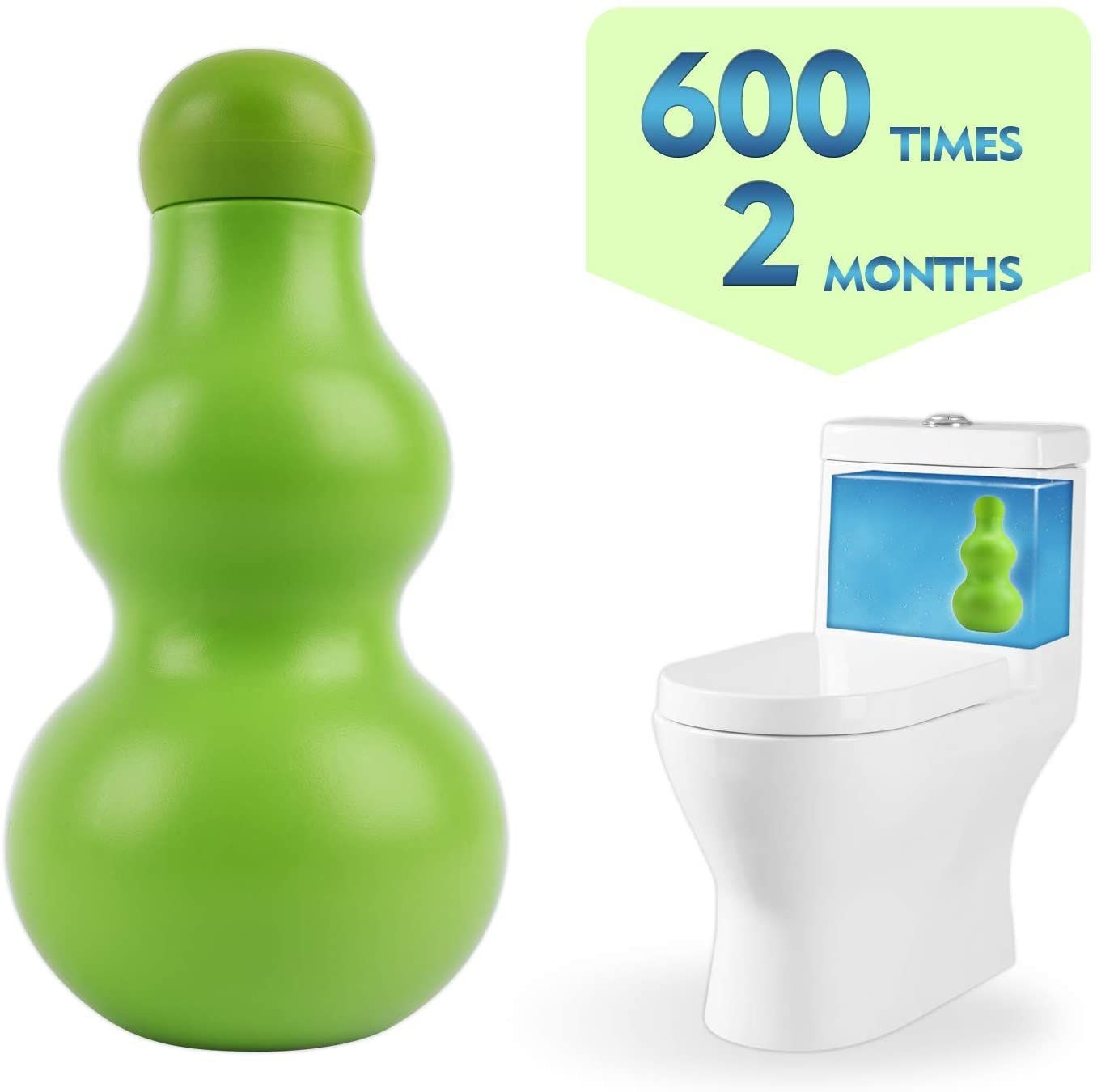 Pure-Eco Automatic Toilet Bowl Cleaner New Generation-600 Times Flushes (Green, 2-Pack)