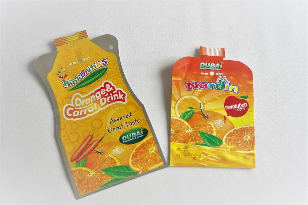 Juice, liquid drink free-shaped straw stand up pouch