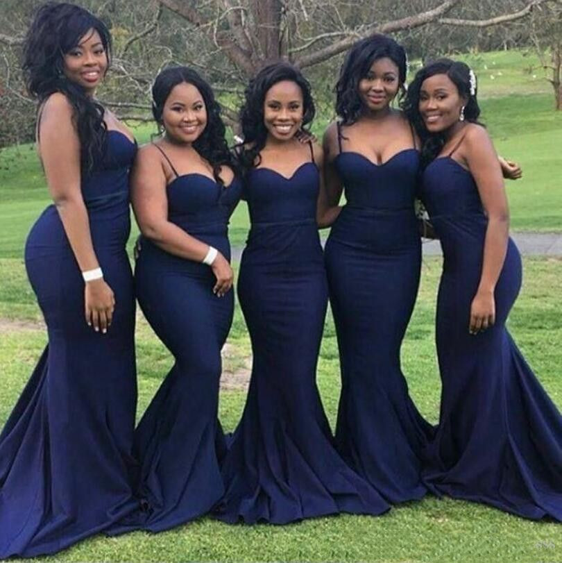 African Dark Blue Mermaid Bridesmaid Dresses Sexy Spaghetti Straps Sweetheart Maid of Honor Gowns Satin Custom Made Wedding Guest Dress