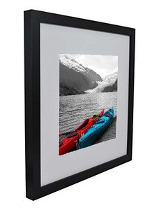 12x12 Square Wood Picture Frame, Matted to Fit Pictures 8x8 or 12x12 Without Mat (Black)