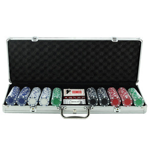 Amazon Hot-selling 11.5g Texas Hold 'em Clay Poker Chip Set with Aluminum Case, 500 Striped Dice Chips