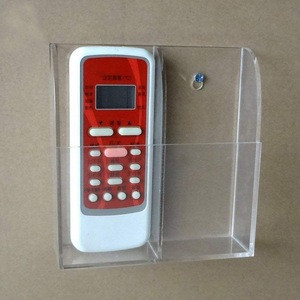 Clear TV Air Conditioner Remote Control Holder Case Acrylic Wall Mount Storage